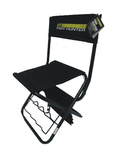 "HT Fish Hunter Chair with Pouch with 1 ""built-in rod holders"""