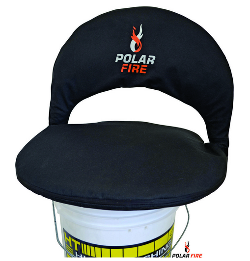 "The Polar Fire Folding Bucket Seat with Back Rest, fits on most popular bucket sizes, padded seat allows for comfortable ""all day"" sitting, secure ratchet style back rest, great for all occasions, carry bag included."